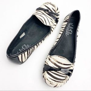 Volatile Zebra Print Slip On Leather Upper Flats